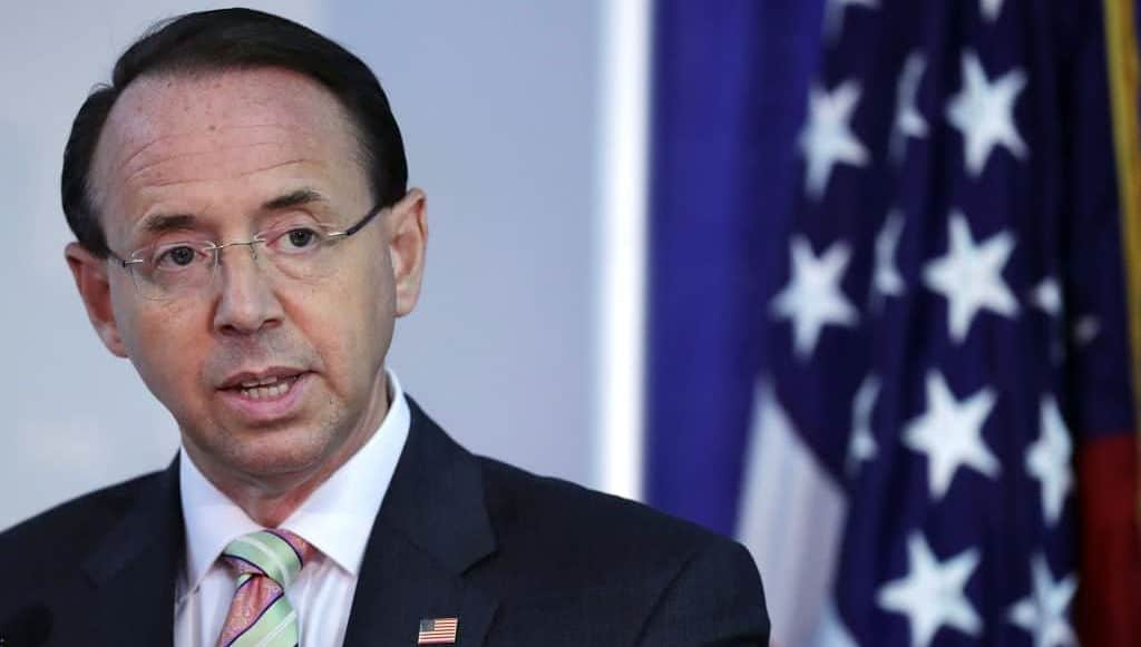 Report: Rod Rosenstein to Leave DOJ Once New Attorney General is Confirmed