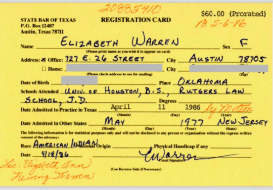Another Apology: State Bar Registration Card Shows Sen. Warren Labeled Herself Native American