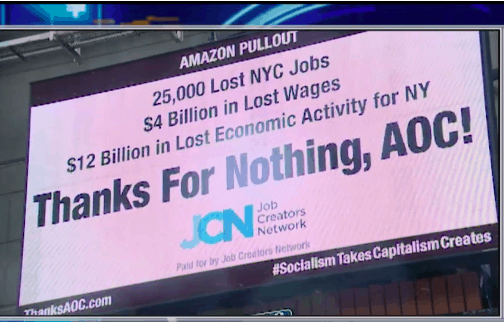 Awesome Billboard Appears in Times Square Criticizing Ocasio-Cortez