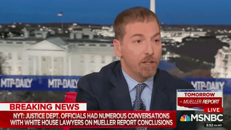 Watch: Chuck Todd's Meltdown Over DOJ Briefing of WH Lawyers Before Mueller Report Release