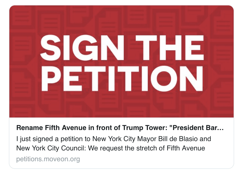 Real Mature; Libs Start Petition to Name Street Outside Trump Tower After Obama