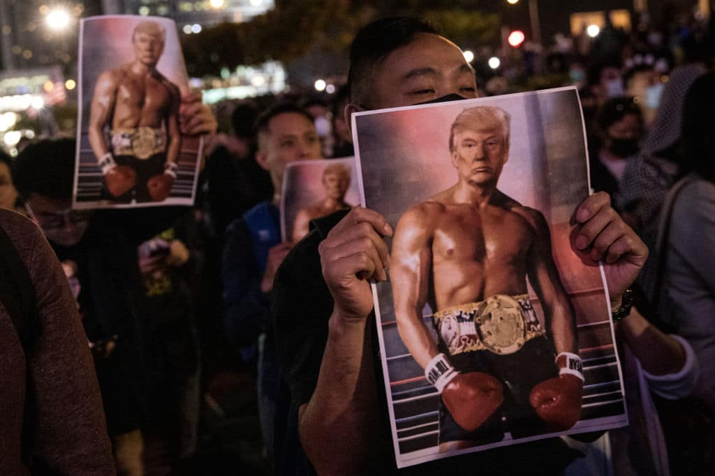 Hong Kong Protesters Hold Pro-American Rally on Thanksgiving