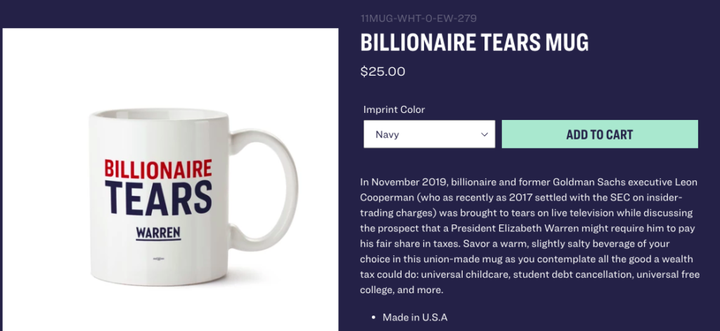 Warren's Merch Mocking Billionaires Sold Via Billionaire-Run Company