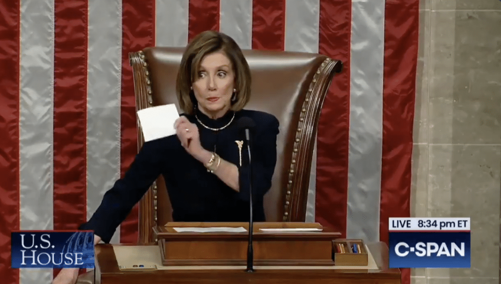 "WATCH: Pelosi Shoots ""Solemn"" Dems a Nasty Look After They Cheered Trump's Impeachment"