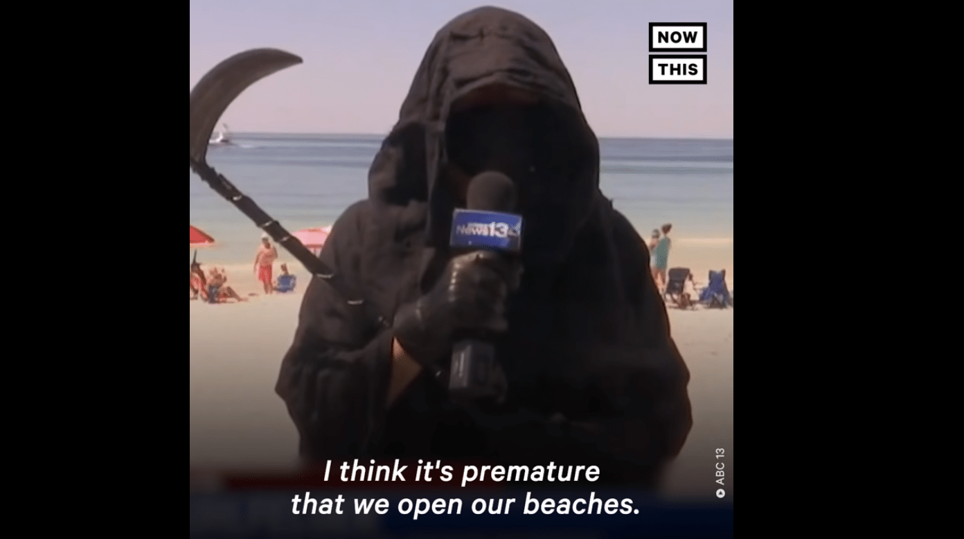 Man Who Dressed as Grim Reaper to Protest Beach Reopenings Now Attends Crowded Protests