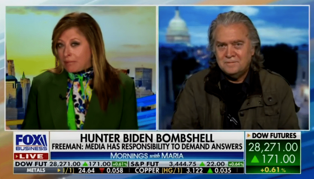 """Steve Bannon Tells Maria Bartiromo There's """"Much More"""" on Hunter Biden Coming Out Before Debate"""