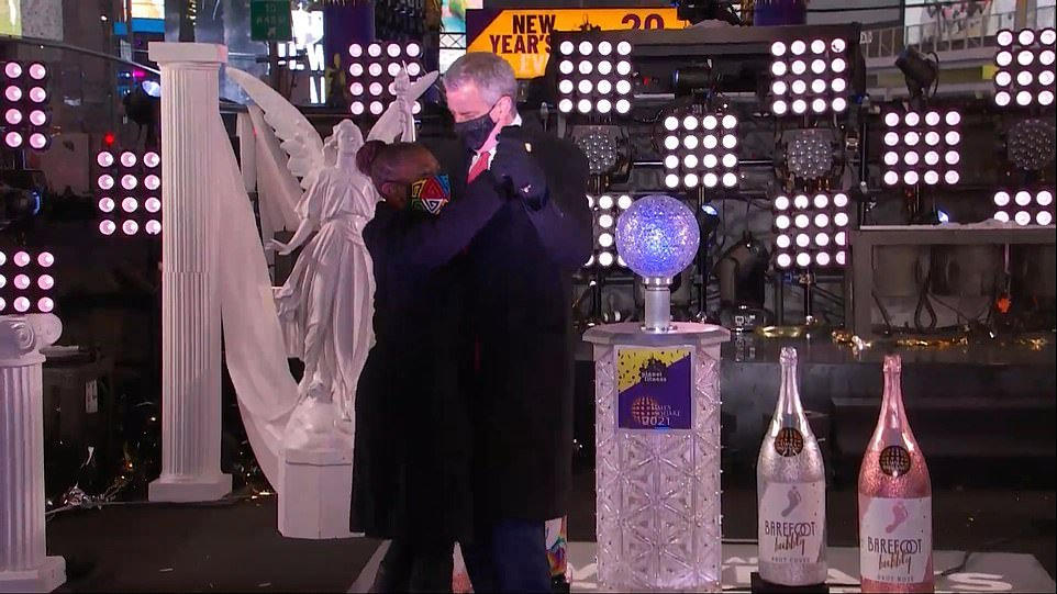 NYC's de Blasio Celebrates in Times Square After Telling People Not to Celebrate in Times Square